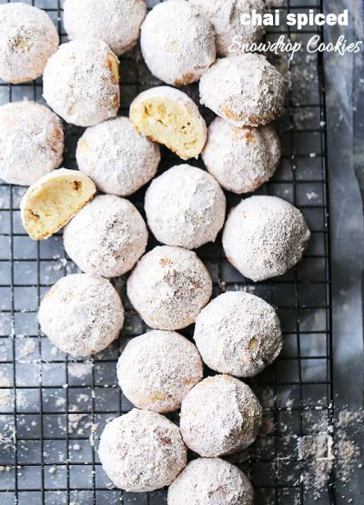Chai Spiced Snowdrop Cookies - Melt-in-your-mouth, sweet, and perfectly spiced Snowdrop Cookies. A perfect addition to your Holiday platter!