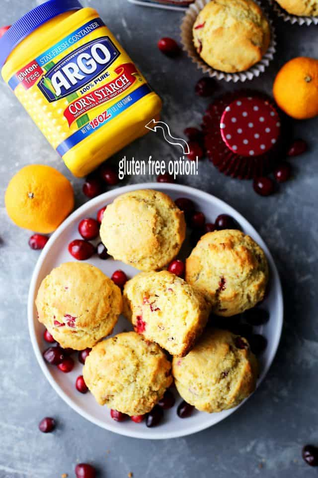 Cranberry Orange Corn Muffins - Traditional, orange-flavored cornbread muffins studded with fresh cranberries.