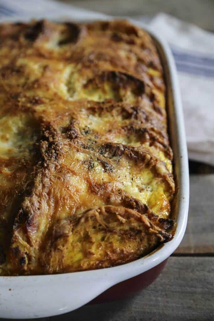 Ham and cheese egg bake in a casserole dish