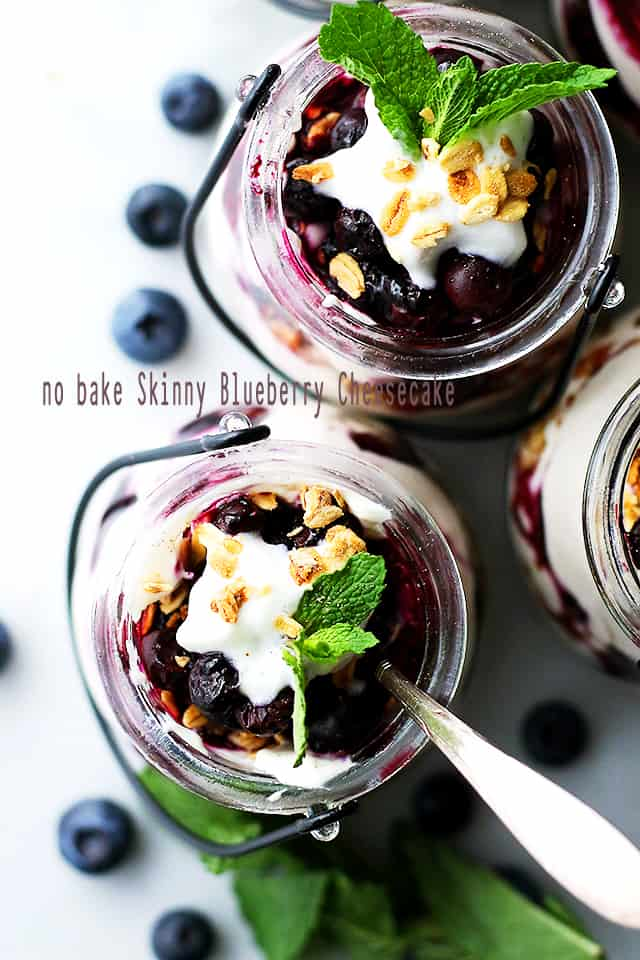 No Bake Skinny Blueberry Cheesecake Parfaits