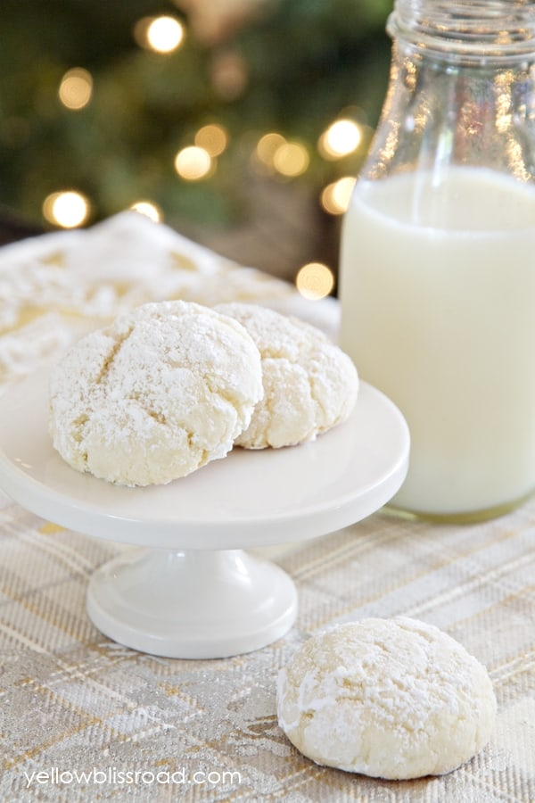 Snowball Cookies on a white pedestal serving tray