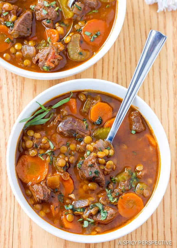 A bowl of beef and lentil stew