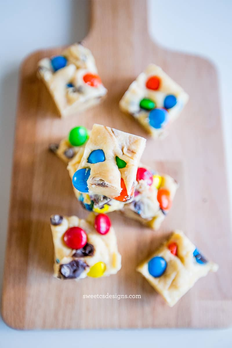 Cookie Dough Fudge topped with colorful candies