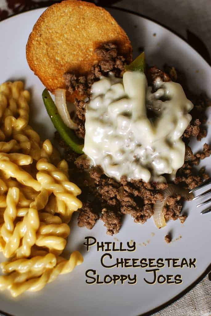 Philly Cheesesteak Sloppy Joes on a plate with noodles