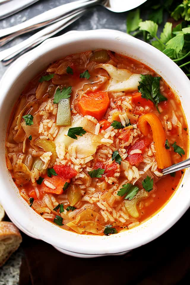 Cabbage Soup with Rice - Healthy, hearty and delicious cabbage soup with rice and vegetables.