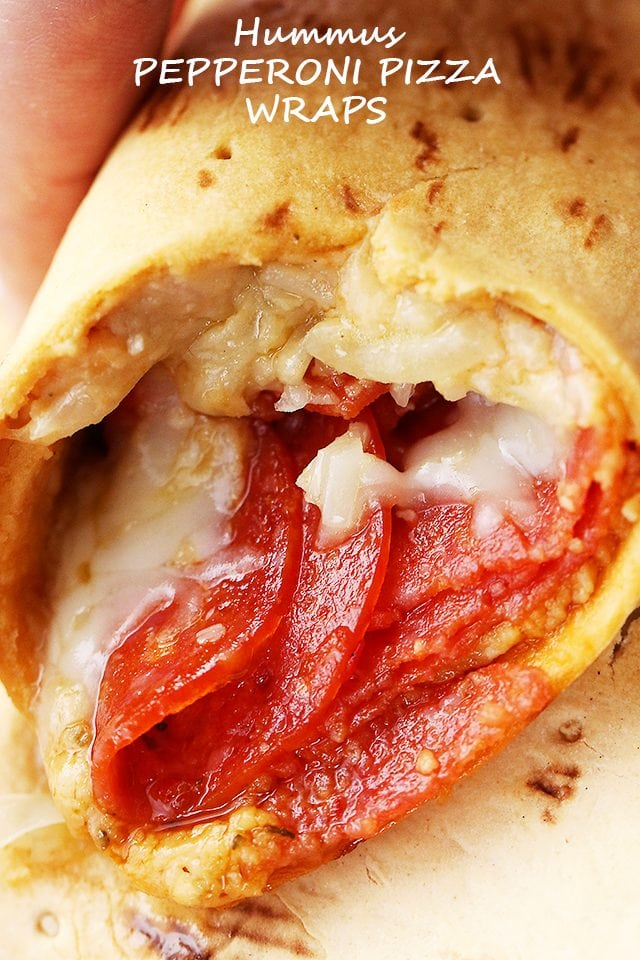 Hummus Pepperoni Pizza Wraps - Quick, easy, 5-ingredient flavor-packed wraps with hummus, pepperoni, and mozzarella cheese.
