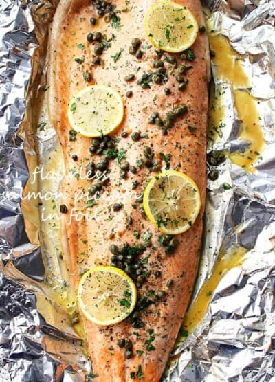 Flourless Salmon Piccata in Foil - A healthy and incredibly deliciousdinner with flourlesspiccata sauce poured over salmon and cooked in foil.