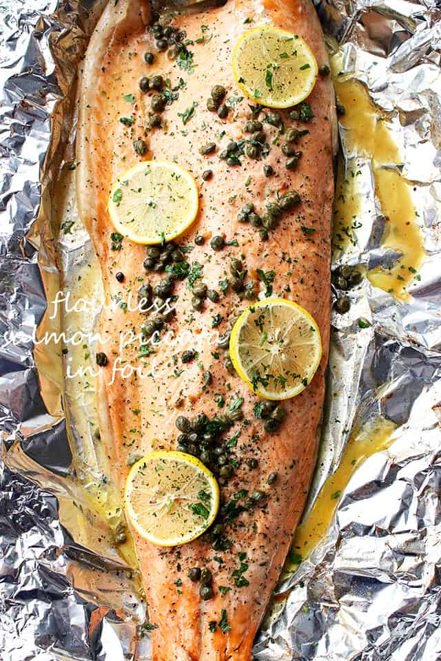 Flourless Salmon Piccata BAKED in Foil