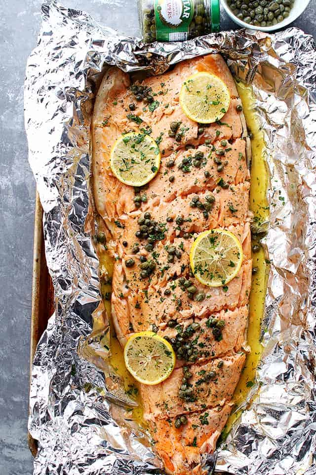 Flourless Salmon Piccata in Foil | Easy & Healthy Salmon Recipes