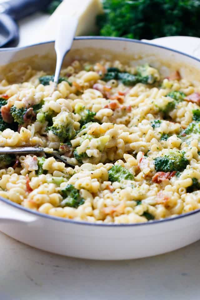 Broccoli Bacon Macaroni and Cheese - Homemade mac 'n cheese loaded with broccoli, a sprinkle of bacon, and lots of cheesy flavor.