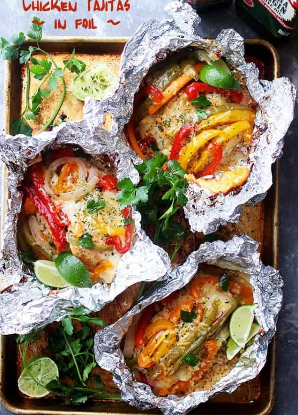 Chicken and Rice Fajitas in Foil - Incredibly delicious and easy to prepare fajitas with chicken, peppers, onions and rice all cooked in foil packets. Easy, quick and SO GOOD!