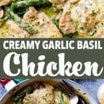 garlic basil chicken pin image