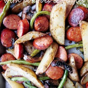 Sheet Pan Andouille Sausage with Potatoes and Veggies - Deliciously seasoned andouille sausage, potatoes, and veggies, all prepared in one pan and ready in just 30 minutes!