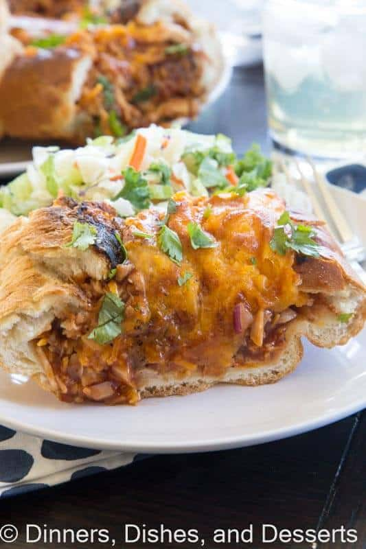 BBQ chicken stuffed French Bread on a plate
