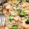 Garlic Shrimp Ramen - Turn those instant ramen noodles into a delicious 30-minute dinner by adding flavorful garlic shrimp and broccoli to the mix!