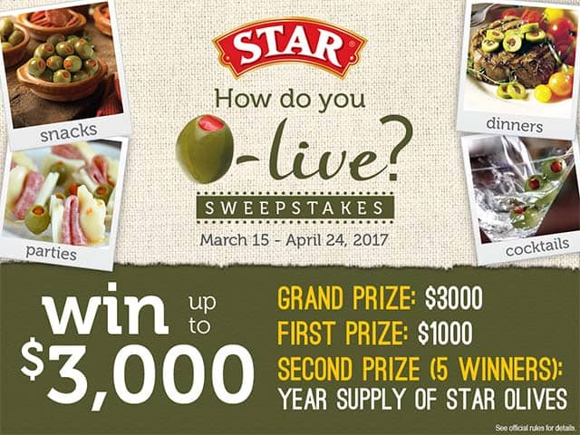 How do you O-live sweepstakes