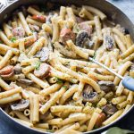 One Pot Creamy Ziti with Andouille Sausage and Mushrooms - This wonderful creamless creamy ziti pasta dinner is jam packed with delicious andouille sausages and mushrooms, and it's prepared in one pot and on the stovetop!