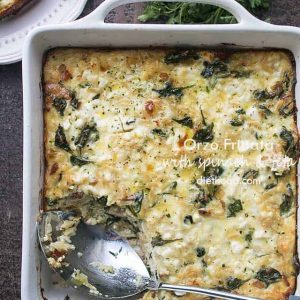 Orzo Frittata with Spinach and Feta - Delicious and classic Mediterranean flavors spice up this simple orzo frittata packed with spinach, bacon, and feta cheese. Enjoy it for breakfast, brunch, or brinner!