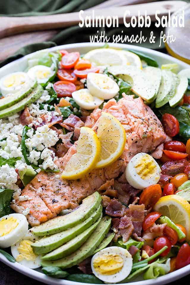 Salmon Cobb Salad with Spinach and Feta | Easy Salmon Recipes