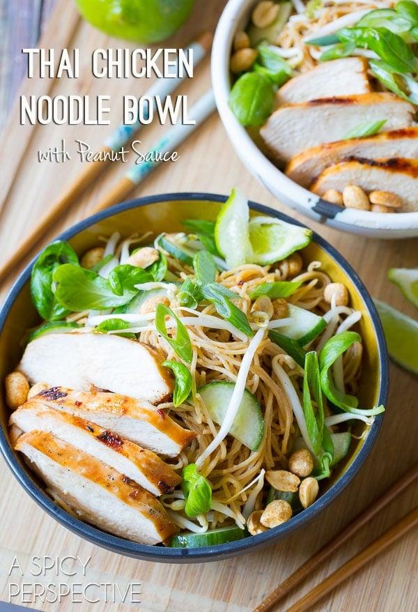 Thai Chicken Noodle bowls with peanut sauce