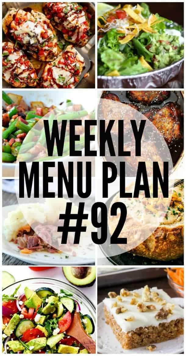 Title Image for Week 92 Meal Plan recipes