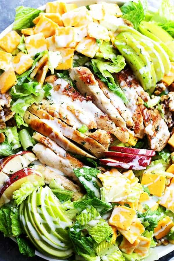 Salad with Sliced Apples, Chicken and cheddar cubes