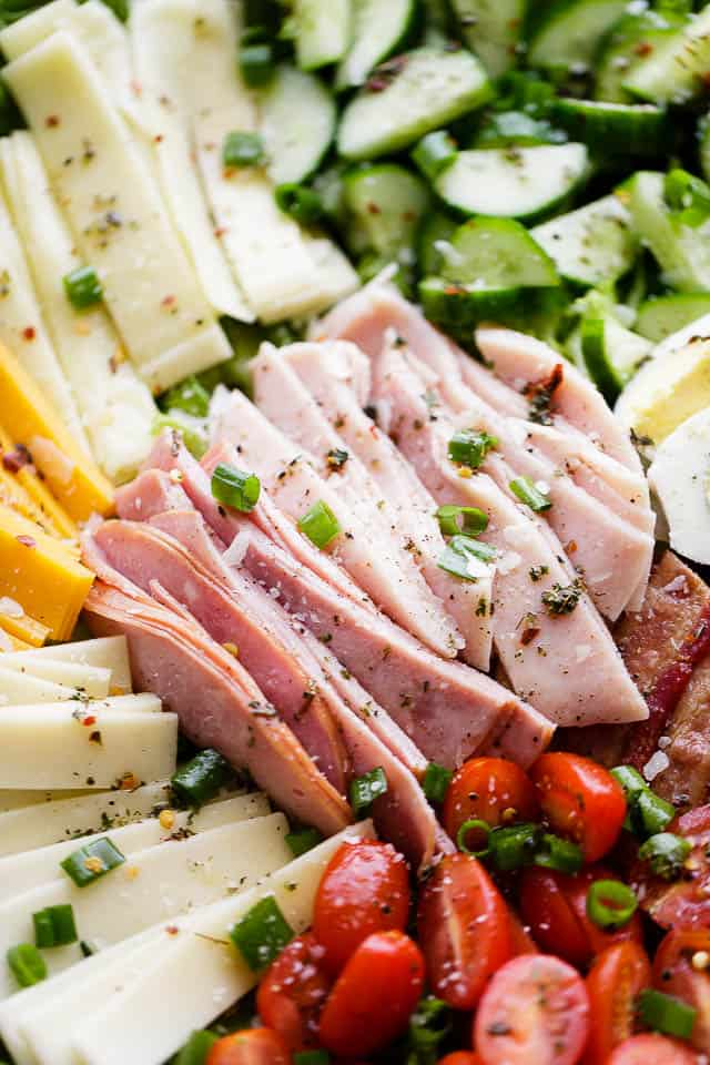 Chef's Salad - Packed with fresh veggies, eggs, deli meats, and cheese, this wonderful main dish salad makes for a perfect lunch or dinner option.
