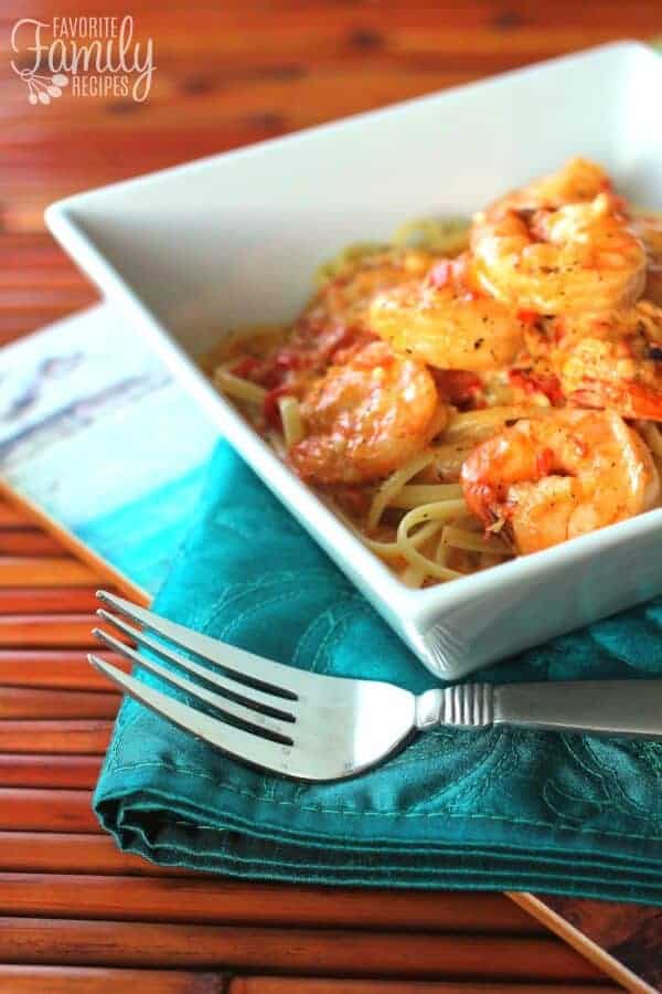 Creamy Cajun Shrimp Pasta in a square bowl