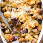 Cheesy Potato Gratin Recipe with Turkey Sausage & Mushrooms