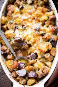 Cheesy Potato Gratin Recipe with Turkey Sausage & Mushrooms