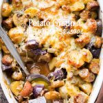 Cheesy Potato Gratin with Turkey Sausage and Mushrooms - An amazing side dish with potatoes, turkey sausage, and mushrooms baked to a delicious perfection. The cheese on top takes it OVER the top!