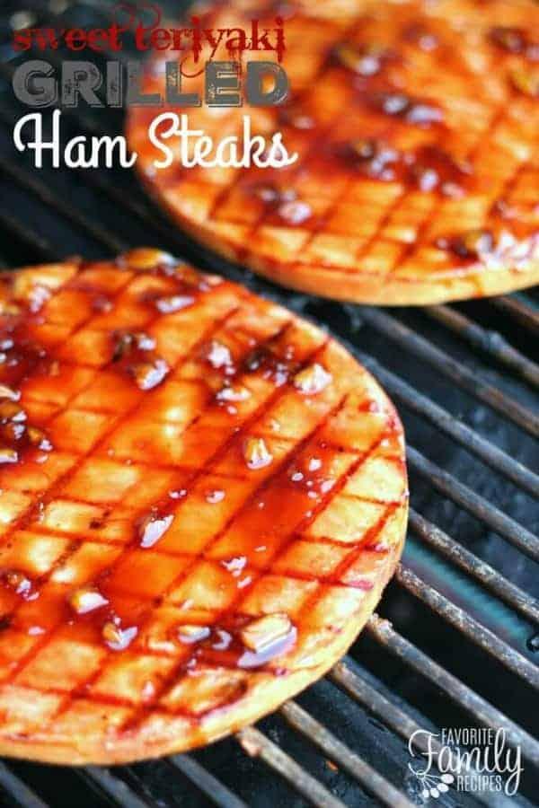 Sweet Teriyaki Grilled Ham Steaks on a grill
