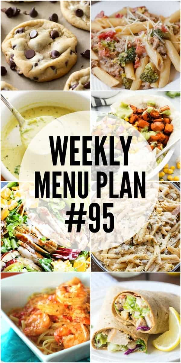 Collage of 8 recipes from Week 95 Meal Plan