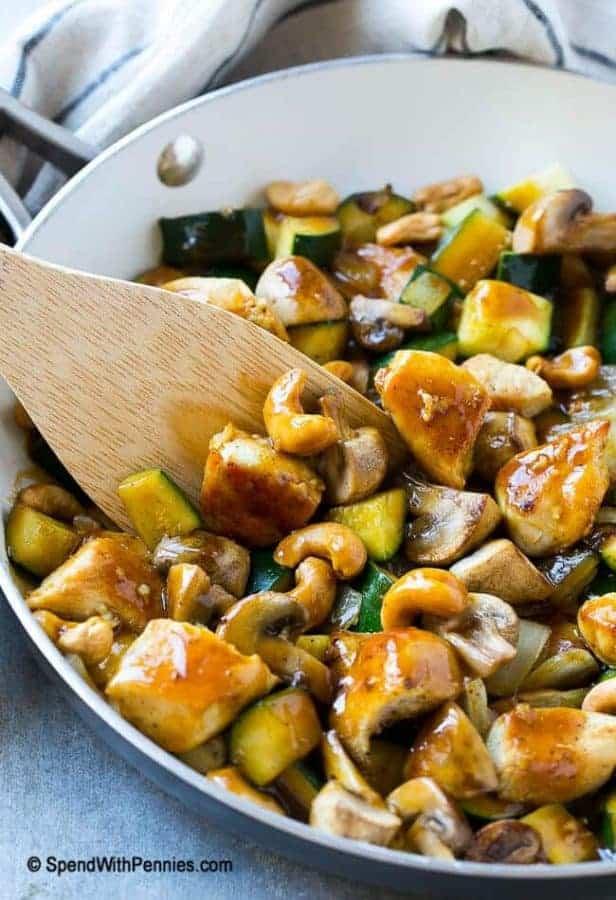 Cashew chicken stir fry in a skillet