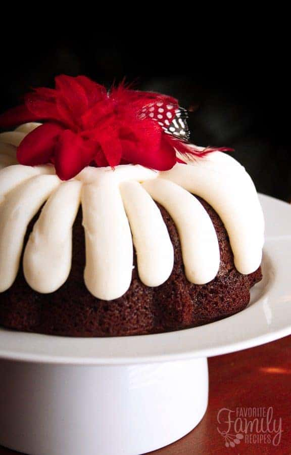 Chocolate bundt cake with white icing and red flower on top