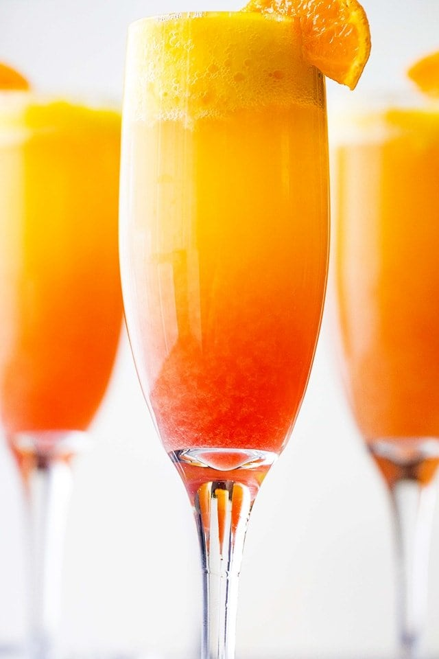 close up of sunrise mimosas