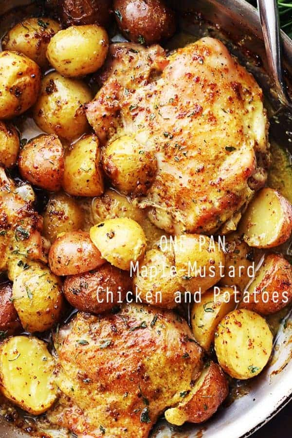 Chicken and potatoes with maple mustard sauce in a pan