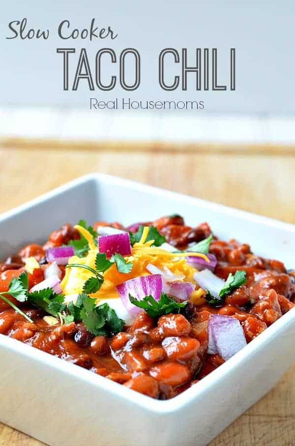 Slow cooker taco chili in a square bowl