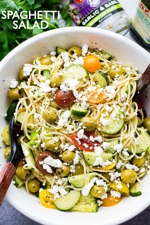 Spaghetti Salad Recipe - Packed with fresh summer veggies, olives, and feta cheese, this delicious spaghetti salad is perfect for all your summer picnics, potlucks, and parties!