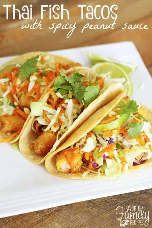 Thai fish tacos on a plate