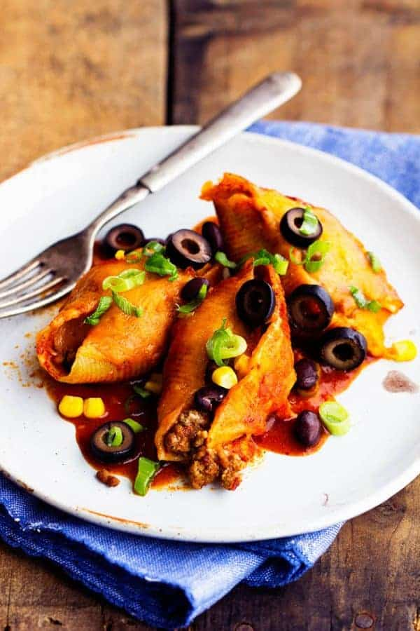 Mexican stuffed shells on a plate