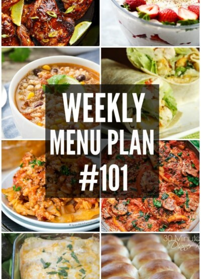 WEEKLY MENU PLAN (#101) - Seven talented bloggers bringing you a full week of recipes including dinner, sides dishes, and desserts!