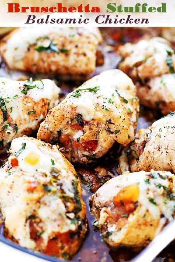 Bruschetta stuffed balsamic chicken breasts