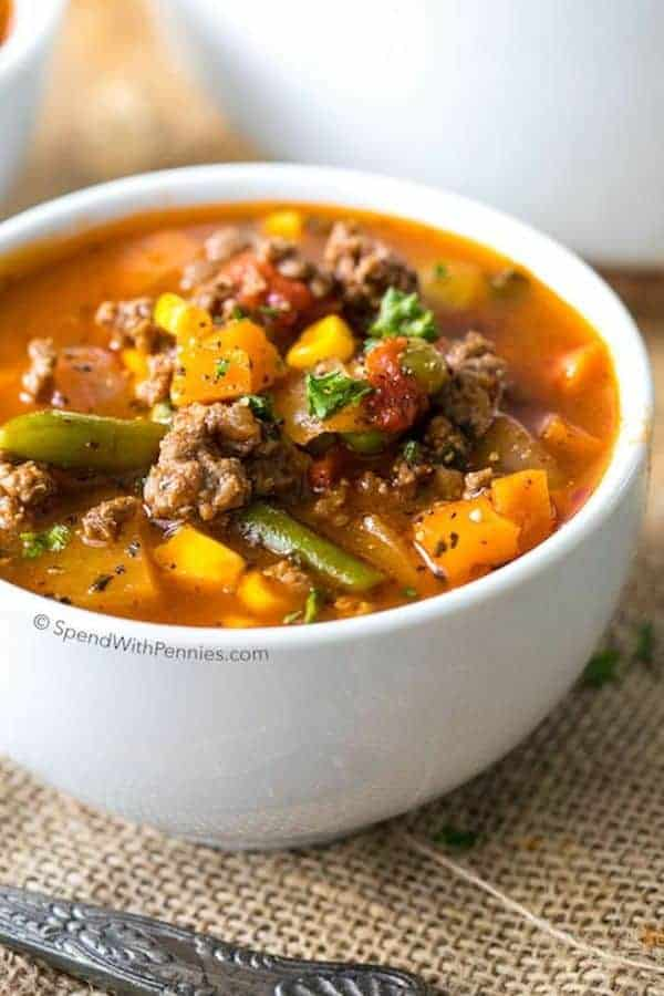 Hamburger Soup with vegetables in a bowl