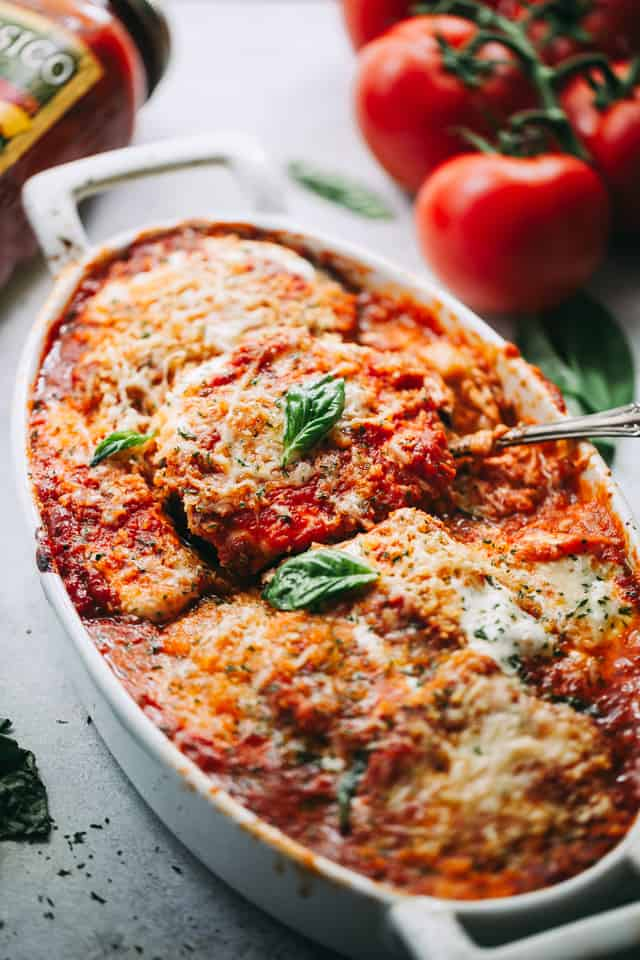 Eggplant Parmesan Recipe - A classic Italian baked Eggplant Parmesan prepared with eggplants, tomato sauce, and cheese!
