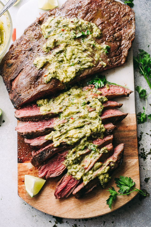 Grilled Flank Steak With Avocado Chimichurri Sauce Flank