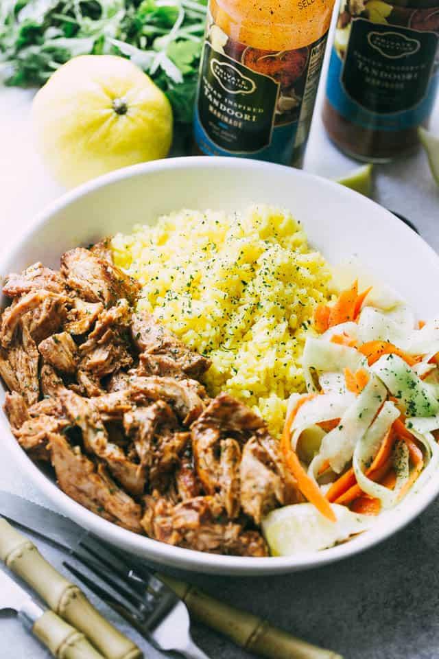 Pulled Tandoori Chicken Rice Bowls Diethood