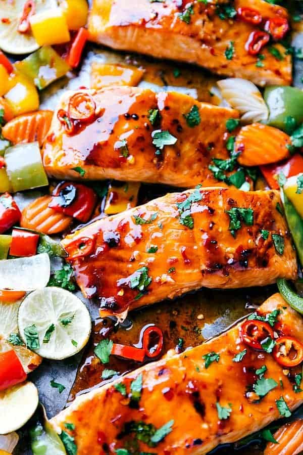 Thai glazed salmon fillets on a sheet pan with vegetables