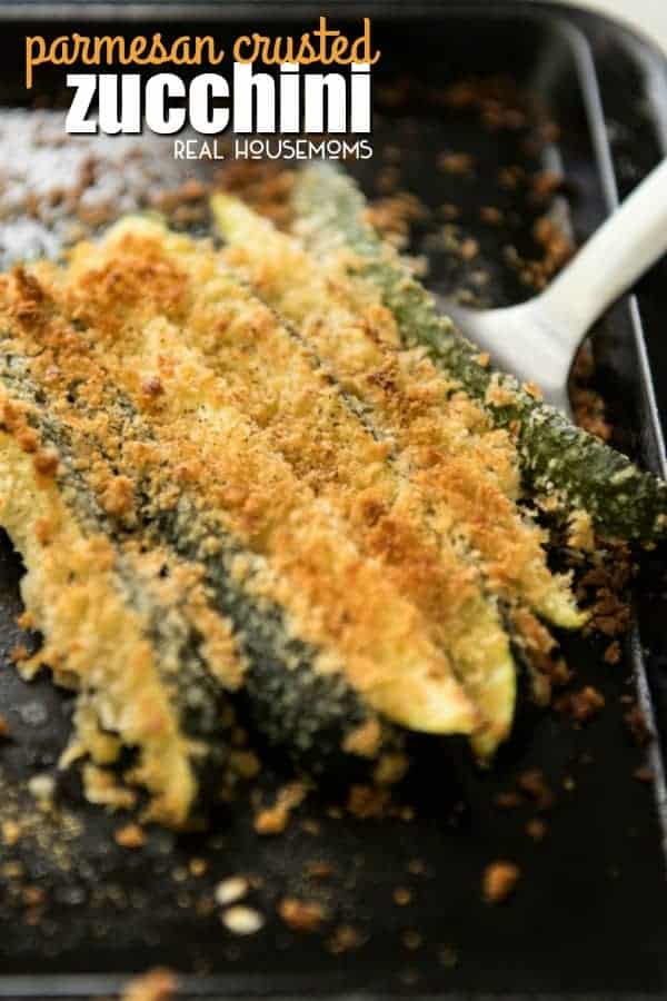 Super easy Parmesan Crusted Zucchini spears on a serving spatula