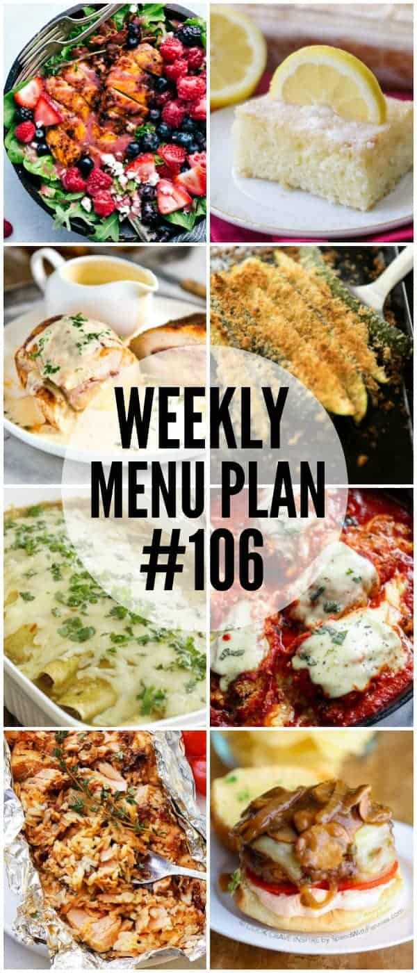 Week 106 Meal Plan collage of 8 recipes
